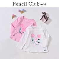 【3折价:18】铅笔俱乐部童装2020春装新款小女孩长袖T恤女童宝宝上衣儿童T恤