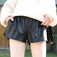 阔腿。皮短裤女秋冬款外穿 a字高腰皮裤女短裤 黑色