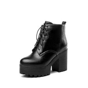 WARORWAR法国新品YG10-C8-31冬季通勤粗跟鞋高跟鞋女鞋潮流时尚潮鞋百搭潮牌靴子马丁靴短靴