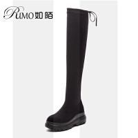 大筒围厚底腿粗弹力长靴大码女靴40-41-43胖mm粗腿加肥女鞋SN4881