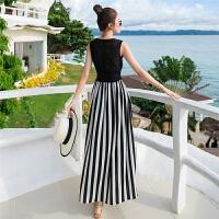 2018女蕾丝露背无袖弹力高腰显瘦黑白条纹连衣裙沙滩长裙