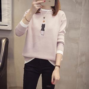 毛衣女装新款2018秋冬季韩版短款宽松百搭学生小清新女针织打底衫