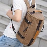 韩版双肩包男多功能水桶包个性潮设计书包斜挎包休闲旅游帆布背包 咖啡色