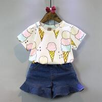 2018韩版童装女童夏季新款甜美冰激凌短袖T恤打底衫 图色 满印冰淇淋T白色