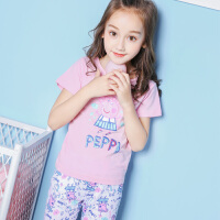 【促】小猪佩奇童装女童夏装2018夏季新品佩奇印花短袖T恤+短裤套装两件套