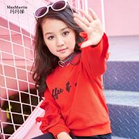 春装新款韩版女童套头红色卫衣中大童女孩时髦上衣