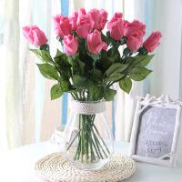 家居简约现代客厅创意家居摆件白色麻绳玻璃透明花瓶干花玫瑰水培花器