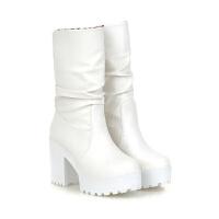 2018新款棉靴粗跟短靴骑士靴女秋冬季雪地靴子中筒靴女靴高跟女鞋真皮