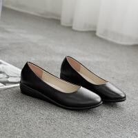 酒店工作鞋女黑色上班鞋女士皮鞋防滑软底舒适百搭平底鞋职业女鞋 黑色8301
