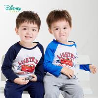 【2件3.5折到手价:34.3】迪士尼Disney童装男童圆领长袖上衣闪电麦昆卡通印花T恤秋季新款纯棉打底衫193S1