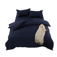 床上用品1.2米三4件套纯素色1.5/1.8m床单双人被套床笠酒店四件套 深蓝色 B双拼 卡其灰