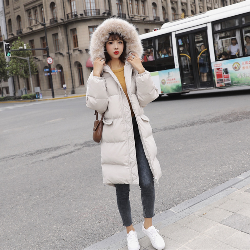 韩国大毛领棉衣外套女中长款18冬季新款学生过膝连帽加厚羽绒 发货周期:一般在付款后2-90天左右发货,具体发货时间请以与客服协商的时间为准