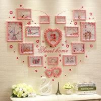 欧式心形照片墙实木客厅卧室温馨少女装饰ins背景墙创意相框组合
