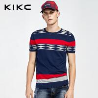kikc2018秋季新品短袖T恤男韩版个性休闲短袖青年修身透气针织衫