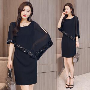 夏季新款女装2018韩版时尚气质名媛雪纺连衣裙拼接显瘦大码裙子潮