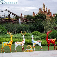 小鹿玻璃摆件园林 玻璃钢*白鹿婚庆摆设园林庭院景观雕塑花园装饰