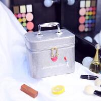 韩国多层化妆包大号化妆盒便携旅行大容量化妆品收纳手提化妆箱包 银色 【嘴唇单层】小号