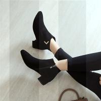 短靴女秋冬新款真皮裸靴平底及踝靴加绒马丁靴粗跟尖头平跟女靴子SN9812 36 单层