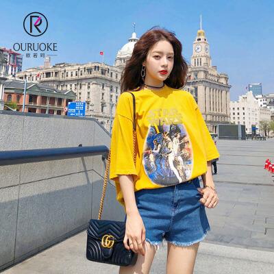 欧若珂    2018夏季新款韩版百搭宽松短袖t恤女学生个性bf风原宿印花上衣女