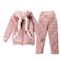 秋冬季睡衣女冬天加厚保暖夹棉三层珊瑚绒舒适可爱连帽拉链家居服