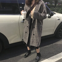 秋冬新款韩版中长款复古格子过膝呢子外套学生气质呢子大衣女