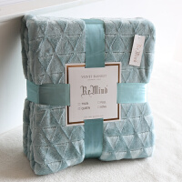 北欧风几何刷花装饰毯 纯色加厚秋冬保暖毛毯床单 沙发毯毛绒毯子 229X274cm 加大4.4斤