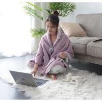 加厚办公室午睡小毯子午休毯披肩斗篷懒人毯披毯单人盖腿毛毯
