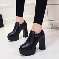 2018时尚女鞋新款秋冬季欧美女士高跟鞋粗跟低帮防水台女款单鞋子 黑色 扣带款 823