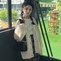 秋冬时尚新款女装韩版廓形宽松显瘦开衫针织毛衣学生纯色短外套潮