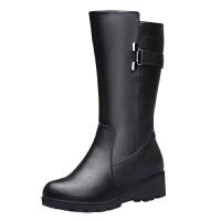 冬季新款真皮女靴中筒羊毛靴保暖加绒妈妈棉鞋舒适坡跟女棉靴真皮 黑色5881 送袜子和鞋垫
