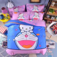 凯蒂猫三四件套公主风卡通kitty四件套kt床单被套儿童床上用品 蓝色 KT梦想-送抱枕