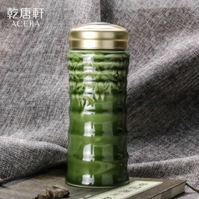 乾唐轩活瓷杯正品大竹节随身杯单层455ml绿陶瓷带盖便携水杯杯子