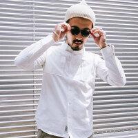 纯色长袖衬衣男士青年帅气秋装上衣休闲白色衬衫