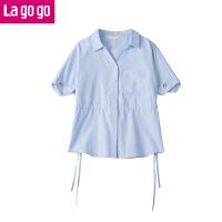 【领�幌碌チ⒓�120元无门槛优惠券】Lagogo/拉谷谷2019年夏季时尚V领短袖条纹衬衫HACC324F23