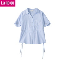 Lagogo/拉谷谷2019年夏季新款时尚V领短袖条纹衬衫HACC324F23