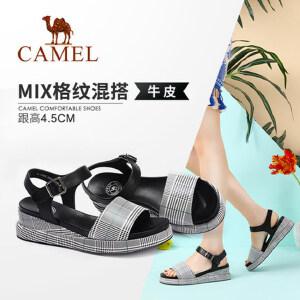 骆驼女鞋 2018夏季新款 时尚休闲舒适透气坡跟韩版显高布纹凉鞋女