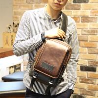 男士腰包胸包斜跨包休闲包小斜挎手机韩版 单肩男包包潮流时尚包 咖啡色