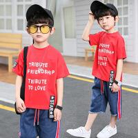 男童夏装新款套装夏季童装韩版儿童短袖牛仔中大童两件套潮