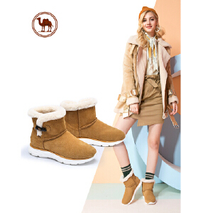 骆驼牌雪地靴女短筒秋冬保暖加绒毛靴子韩版女靴百搭棉鞋学生短靴