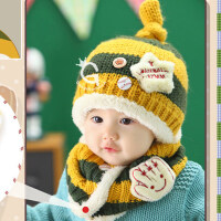 韩国秋冬宝宝帽子男女婴儿帽子儿童毛线帽围脖两件套0-3-6-12个月