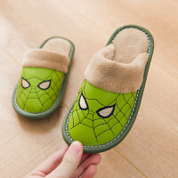 小孩儿童棉拖鞋女男童公主可爱秋冬天保暖室内冬季防滑卡通皮拖鞋