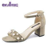 依思q夏季新款时尚一字带女鞋百搭舒适粗跟高跟凉鞋