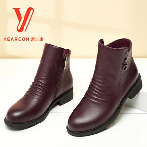【真皮切尔西女靴】意尔康女鞋秋冬新款英伦风平底短靴加绒妈妈棉鞋