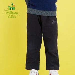 迪士尼Disney宝宝裤子男女童布裤加绒保暖休闲长裤秋冬款164K724
