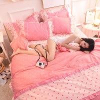 全棉韩式床上用品纯棉四件套公主田园1.5米1.8m床单被套2.0双人夏 富丽园 13070加密面料