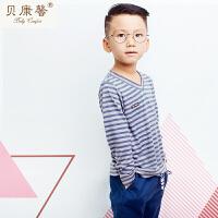 [当当自营]贝康馨男童秋装V领条纹纯棉T恤