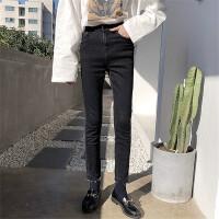 黑色牛仔裤女修身显瘦铅笔裤高腰2018新款女装春装韩版chic九分裤