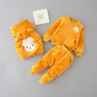 宝宝冬装三件套1-3岁半婴儿衣服2女童加绒加厚卫衣男童秋冬季套装巴拉