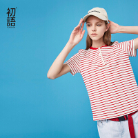 初语2018夏季新款  X型棉麻彩色条纹短袖T恤上衣女显瘦