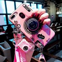 仿真照相机苹果XR手机壳女新款斜跨iphone7plus带支架保护套8plus蓝光软壳硅胶套max抖 蓝光相机 粉6/
